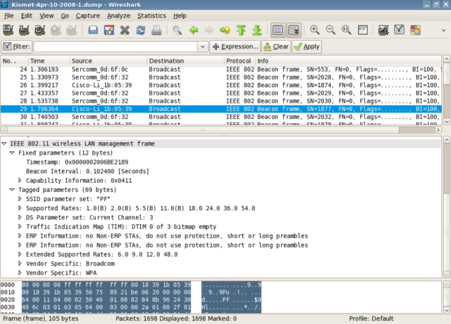 A capture of Kismet being displayed in WireShark